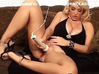 Blonde Cougar Charlee Chase Stimulates Her Horny Twat With Wand!